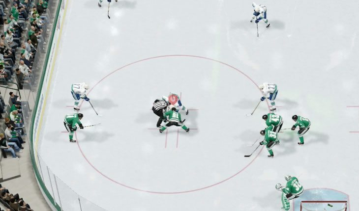 Aggressive NHL faceoff setup in the defensive zone