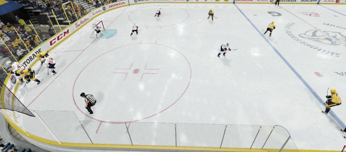 Weak Side Lock Forecheck strategy in NHL 19. Weak side D man and winger locking out the zone.