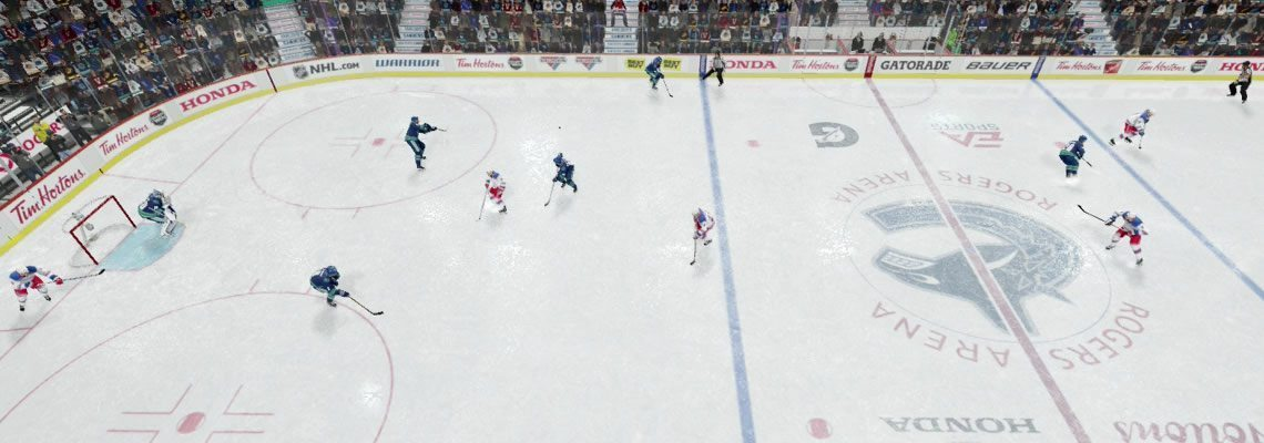 NHL 18 coaching strategies. Centerman swinging down while there is a winger at each blue line