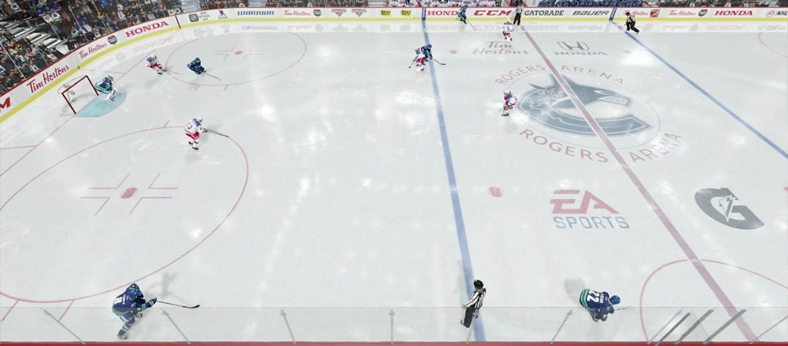 All three forwards up high while the defenseman carries the puck out. NHL 18