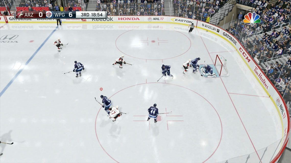 NHL 17 Broadcast camera view defensive zone
