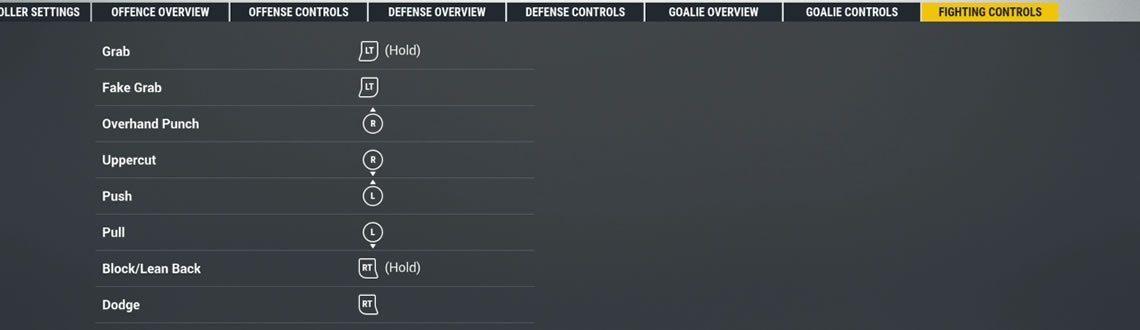 NHL 19 fighting controls