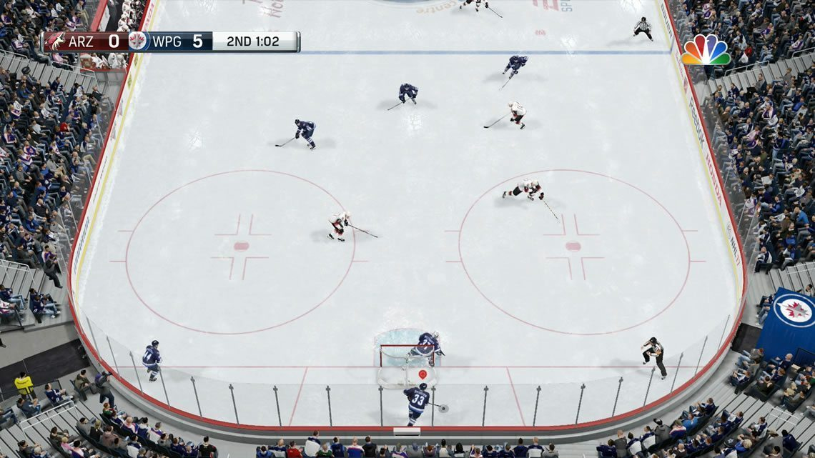 Overhead Camera in EA Sports NHL defensive zone