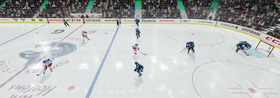 Defense look for a pass up the middle to a centerman. NHL 18
