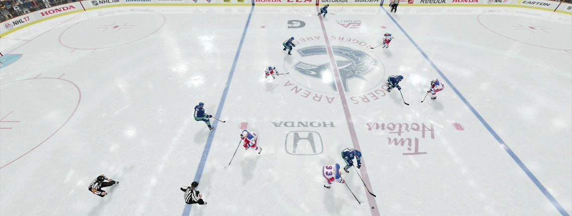 NHL 18 Stay Wide. Weak side winger stays far against the boards.