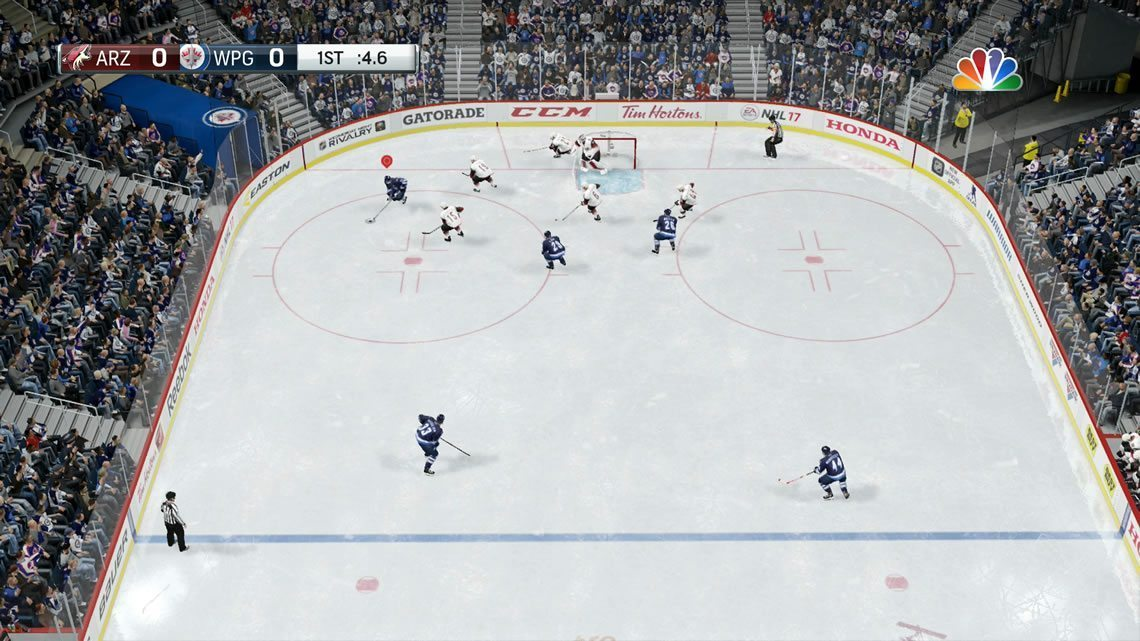 Zone camera angle in NHL 17 from the offensive zone