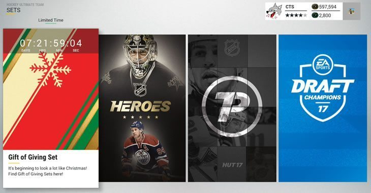 NHL 17 HUT Sets tab screenshot