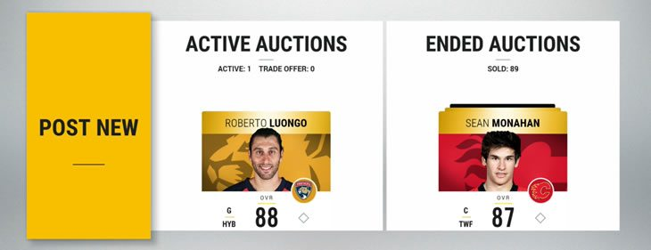 "HUT auction ""sell"" screen"