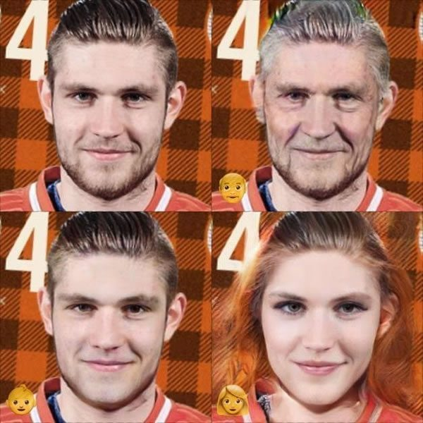 Draisaitl as old, young, and a women