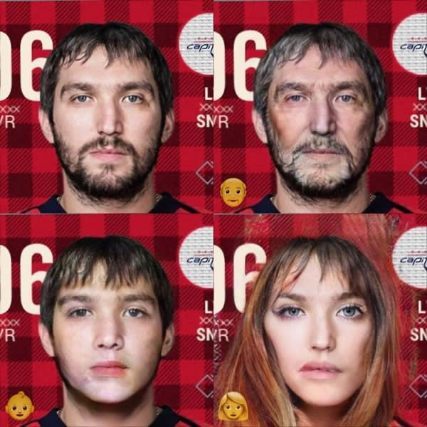 Ovechkin as a kid, old man, and woman