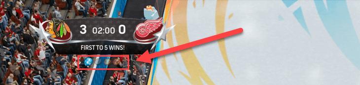 Money puck underneath scoreboard in NHL Threes