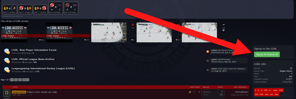 sign up for season 28 in sidebar of LGHL home page