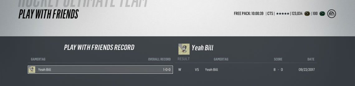 Play with friends record vs Yeah Bill
