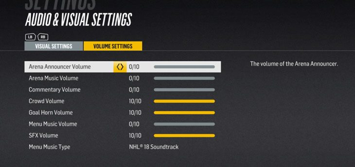 Menu music and commentary settings in NHL 18