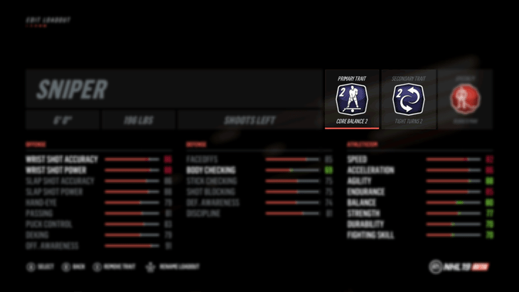 edit loadout screen with focus on the primary and secondary NHL 19 trait icons