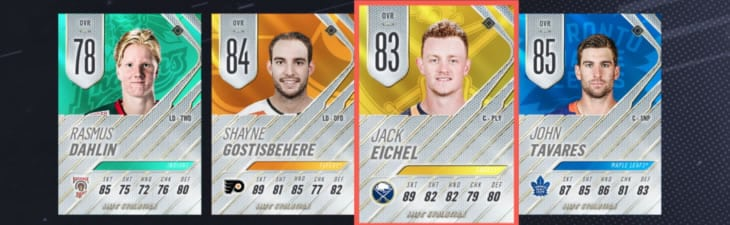 NHL 19 Evolution players, Dahlin, Gostisbehere, Eichel, and Tavares
