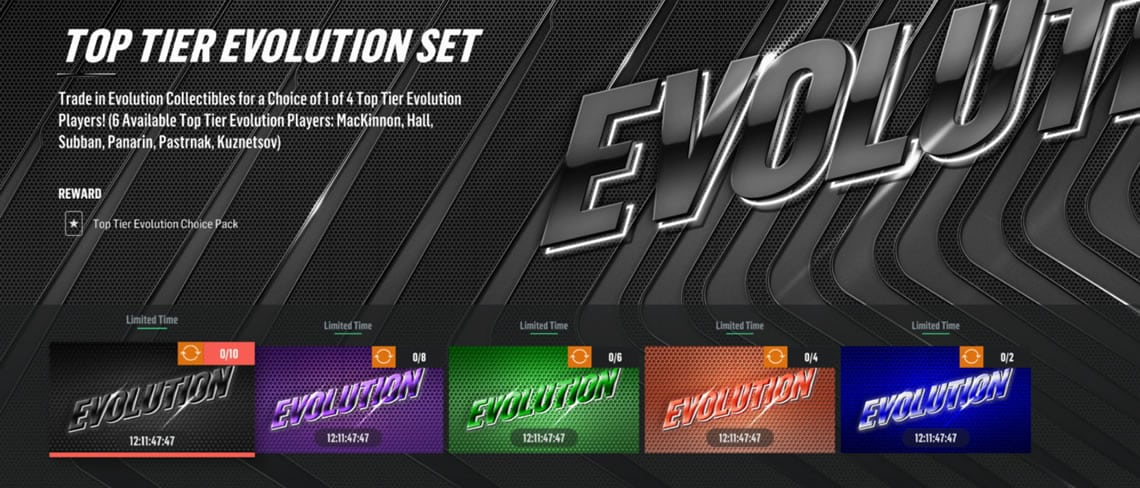 HUT Evolution sets. There are five different tiers